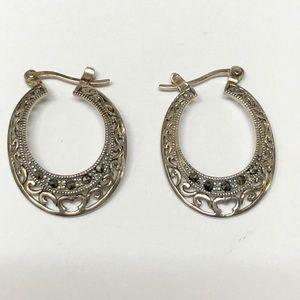 Jewelry - Vintage Sterling Silver Marcasite Hoop Earrings